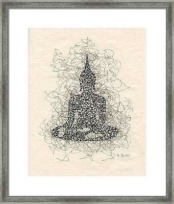 Buddha Pen And Ink Drawing Framed Print