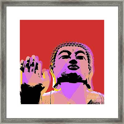 Framed Print featuring the digital art Buddha Pop Art  by Jean luc Comperat