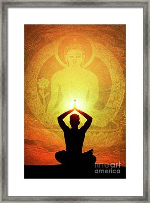 Buddha Prayer Framed Print by Tim Gainey