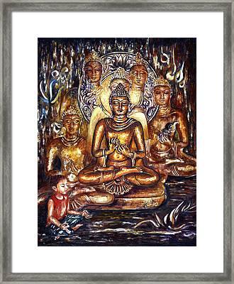 Buddha Reflections Framed Print by Harsh Malik