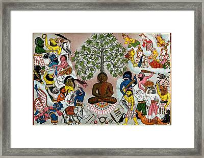 Buddha Resisting The Demons Of Mara Framed Print