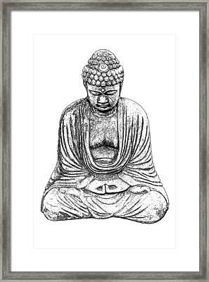 Buddha Sketch Framed Print by Jim Dollar