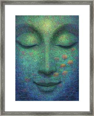 Framed Print featuring the painting Buddha Smile by Sue Halstenberg