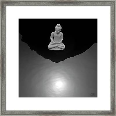 Framed Print featuring the photograph Buddha V  Bw by David Gordon