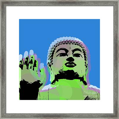 Framed Print featuring the digital art Buddha Warhol Style by Jean luc Comperat