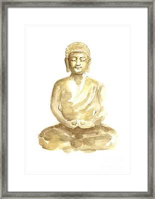 Buddha Watercolor Art Print Painting Framed Print by Joanna Szmerdt