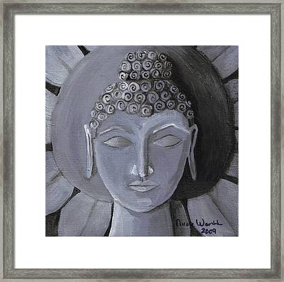 Buddha With A Stone Lotus Framed Print by Nicole Werth