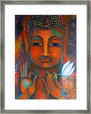 Buddha With A White Lotus In Earthy Tones Framed Print