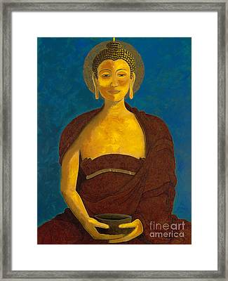 Buddha With Begging Bowl Framed Print by Kirsten Throneberry