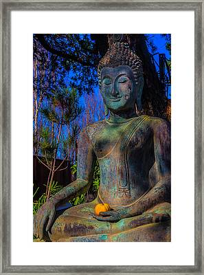 Buddha With Offering  Framed Print by Garry Gay