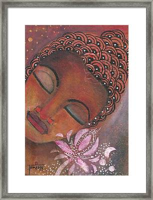 Framed Print featuring the painting Buddha With Pink Lotus by Prerna Poojara