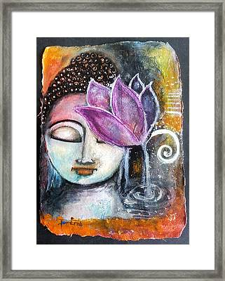Buddha With Torn Edge Paper Look Framed Print