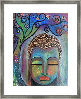 Framed Print featuring the painting Buddha With Tree Of Life by Prerna Poojara