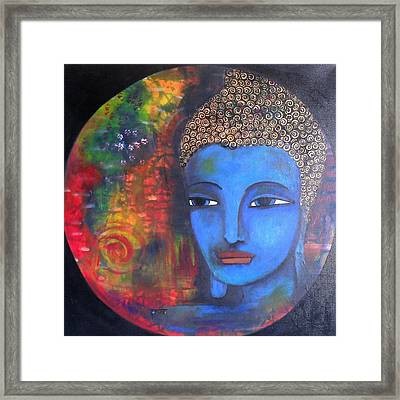 Framed Print featuring the painting Buddha Within A Circular Background by Prerna Poojara