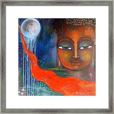 Framed Print featuring the painting Buddhas Robe Reaching For The Moon by Prerna Poojara