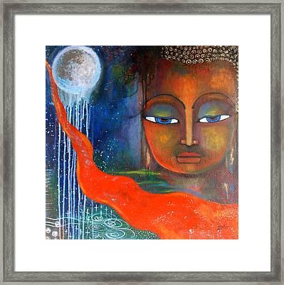 Buddhas Robe Reaching For The Moon Framed Print