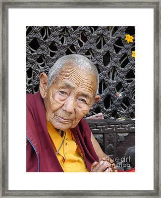 Buddhist Monk Kathmandu Framed Print