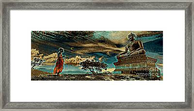 Buddhist Monk Praying To Buddha Framed Print