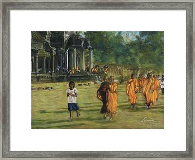 Buddhist Monks Framed Print by Leonor Thornton