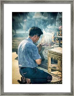 Framed Print featuring the photograph Buddhist Way Of Praying by Heiko Koehrer-Wagner
