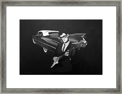 Buddy Holly And 1959 Cadillac Framed Print