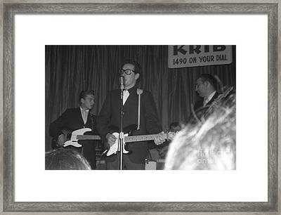Buddy Holly Onstage At The Surf Ball Room Playing His Last Concert Framed Print by The Titanic Project