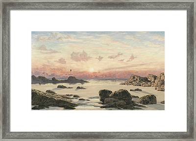 Bude Sands At Sunset Framed Print by John Brett