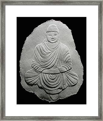 Budha - Fingernail Relief Drawing Framed Print by Suhas Tavkar