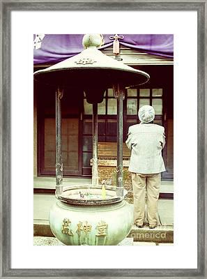 Budhist Praying Framed Print