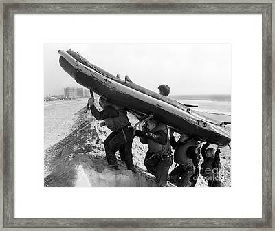 Buds Students Carry An Inflatable Boat Framed Print