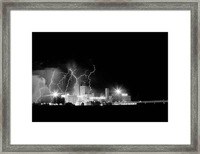Budweiser Lightning Thunderstorm Moving Out Bw Framed Print