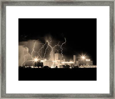 Budweiser Lightning Thunderstorm Moving Out Bw Sepia Crop Framed Print