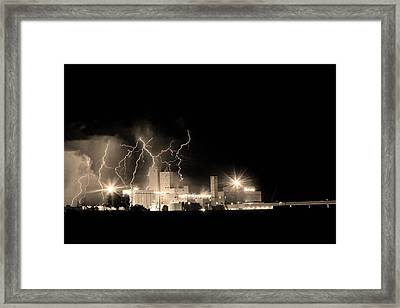 Budweiser Lightning Thunderstorm Moving Out Bw Sepia Framed Print by James BO  Insogna