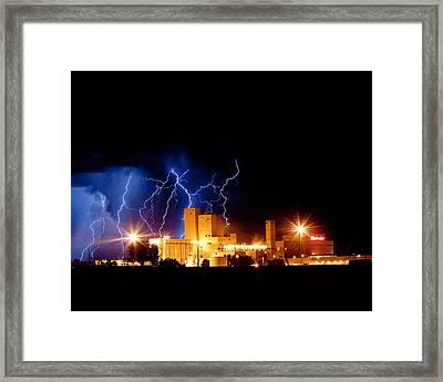 Budweiser Lightning Thunderstorm Moving Out Crop Framed Print