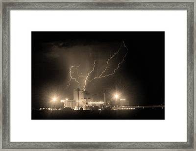 Budweiser Powered By Lightning Sepia Framed Print by James BO  Insogna