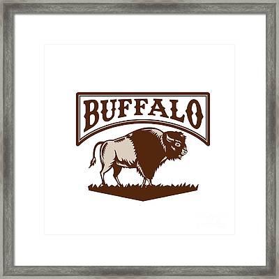 Buffalo American Bison Side Woodcut Framed Print