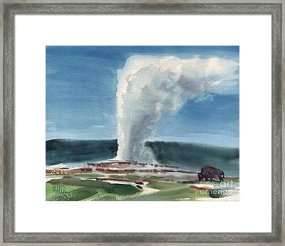 Buffalo And Geyser Framed Print by Donald Maier