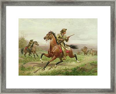 Buffalo Bill Fighting The Indians Framed Print by Louis Maurer