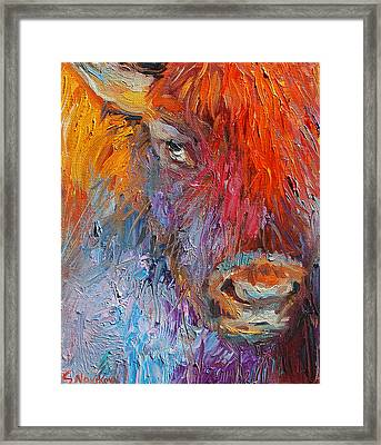 Buffalo Bison Wild Life Oil Painting Print Framed Print