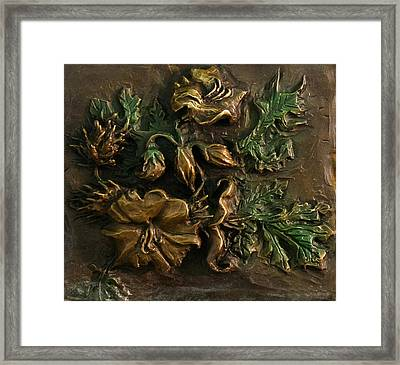 Framed Print featuring the relief Buffalo Bur Flower From Snowy Range Life by Dawn Senior-Trask