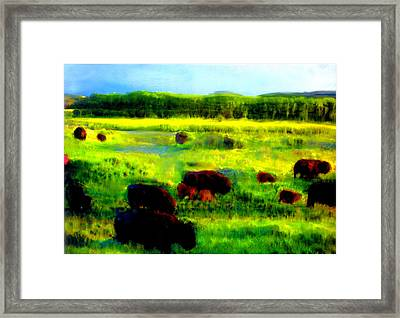 Framed Print featuring the painting Buffalo Coming Home by FeatherStone Studio Julie A Miller