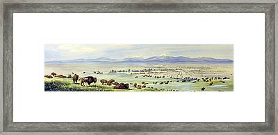 Buffalo Coming To Water. Watercolor Framed Print by Everett