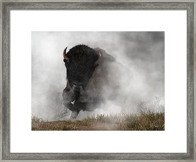 Buffalo Emerging From The Fog Framed Print by Daniel Eskridge