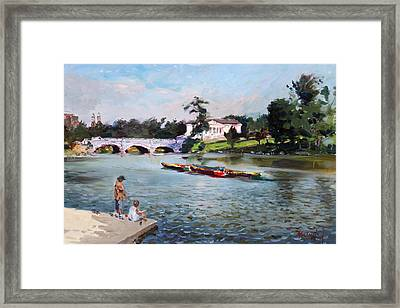 Buffalo  Fishing Day Framed Print by Ylli Haruni