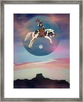 Buffalo Girls Over Abiquiu I Framed Print
