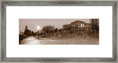 Framed Print featuring the photograph Buffalo History Museum Winter Twilight  by Chris Bordeleau