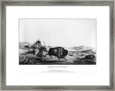 Buffalo Hunt, 1837 Framed Print