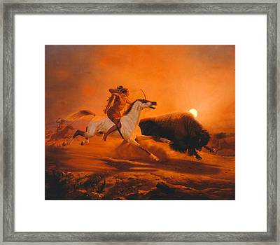 Buffalo Hunt Framed Print by Charles Christian