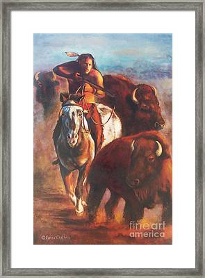 Framed Print featuring the painting Buffalo Hunt by Karen Kennedy Chatham