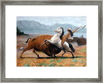 Framed Print featuring the painting Buffalo Hunt by Tom Roderick